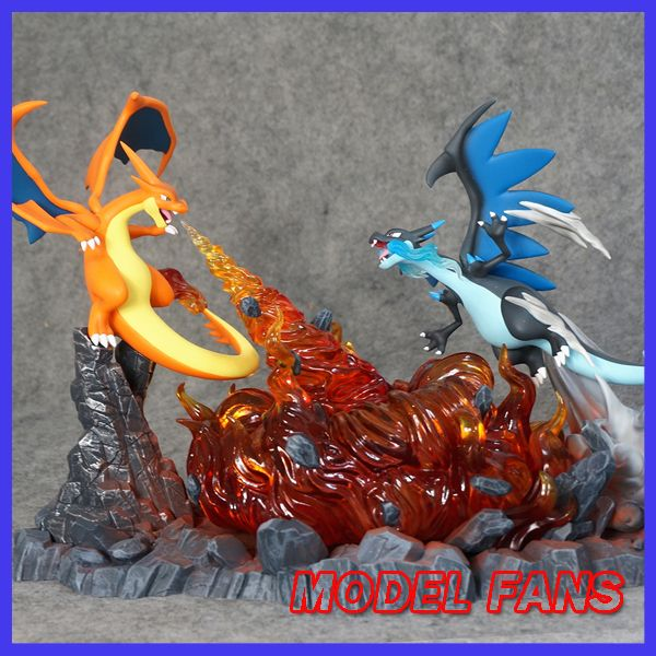 MODEL FANS sold  23cm height Charizard VS mega evolution Charizard gk resin statue figure for collection
