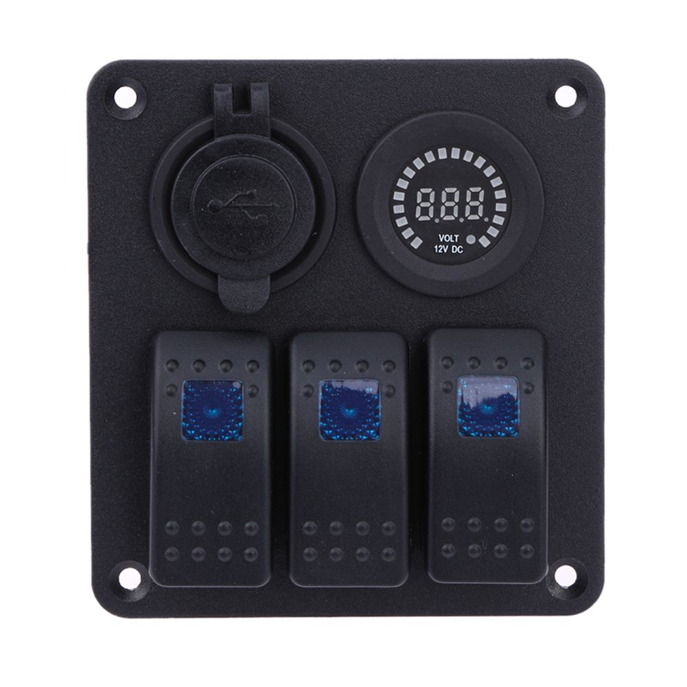 Auto RV Ship 3Pin Switch Yacht Bus USB Charger Color Display Voltage Gauge Combination ON-OFF Panel