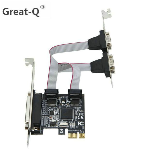 Great-Q  High qualtiy Moschip PCI express 2 Serial and 1 parallel port riser  Card RS232 Printer port PCIe PCI-e  Card