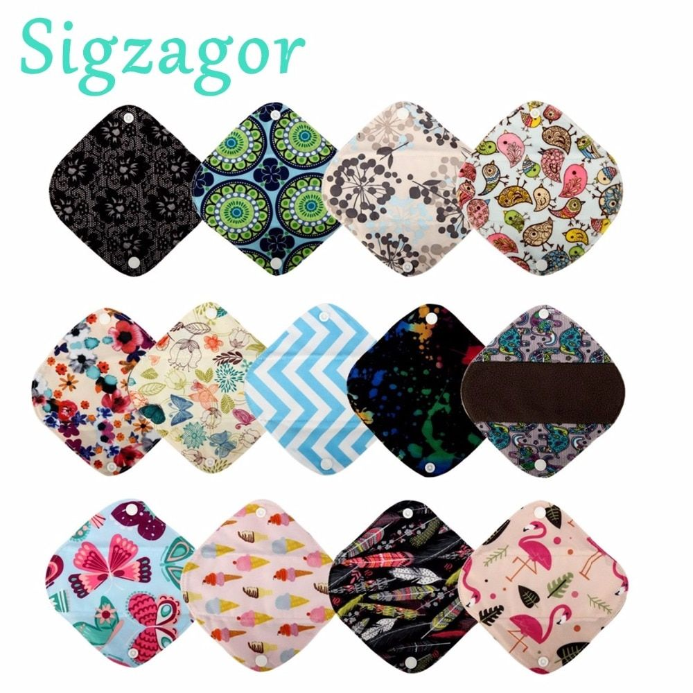 [Sigzagor] 3 Extra Small XS Panty Liners 7inch Reusable Washable Bamboo CHARCOAL Menstrual Sanitary Mama Cloth Pads,13 Designs