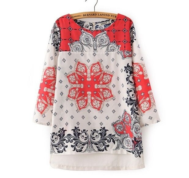 Women totem flower pattern chiffon blouse vintage Retro red hree quarter sleeve shirts casual Blusas Femininas tops