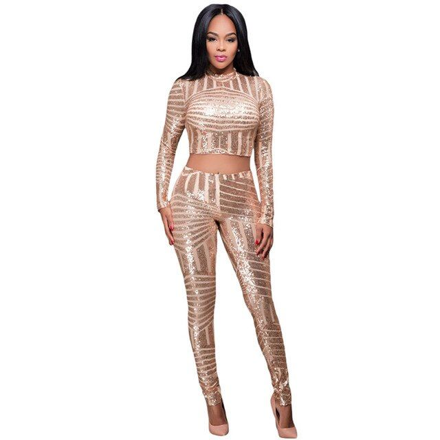 Cfanny 2016 Women Set Clothing Gold Sequins Overall Two Pieces Pants Set Bodycon Long Pant and Crop Top Sexy Women Tracksuit Set