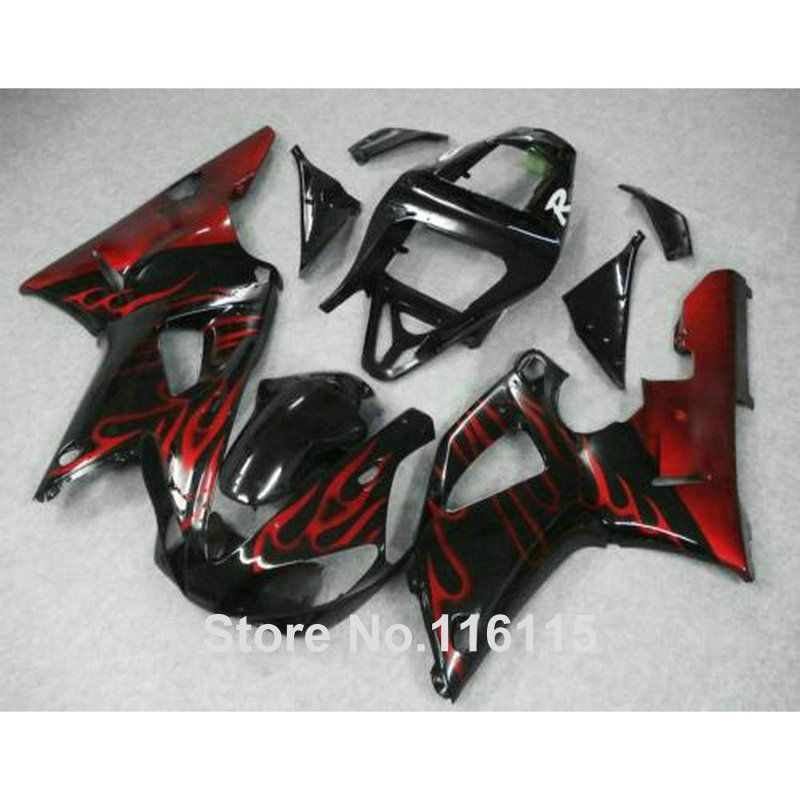MOTOMARTS plastic fairings set for YAMAHA R1 2000 2001 red flames in black fairing kit YZF R1 00 01 body kits Injection molding