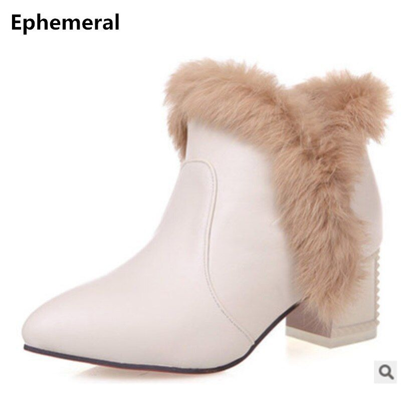 Ladies fashion big size(4 -12)sexy rabbit hair point toe short ankle boot winter boot high heel boots riding.equestrian 4colors