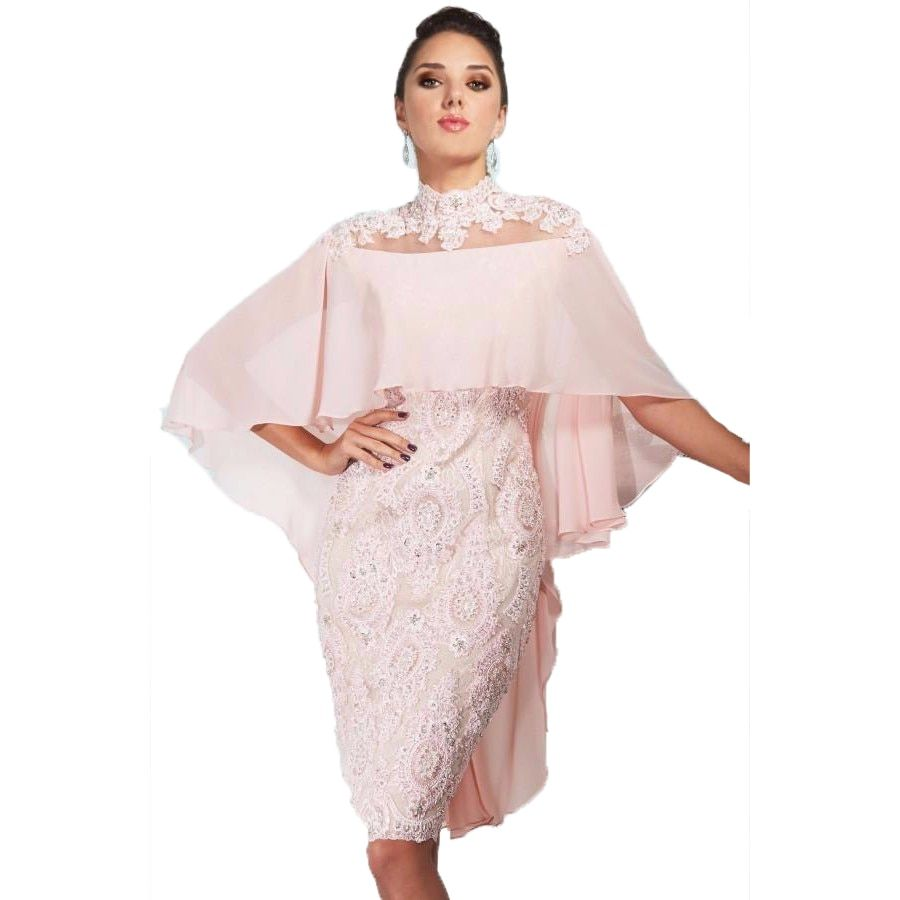 Girls' Short Straight Cocktail Dresses Lace With Cape Beads Sexy Women Formal Dresses Pink Gowns Plus Size Robe Cocktail 2017
