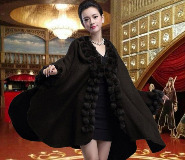 womens capes and ponchoes new 2015 fall clothing Plus Size women wrap wind sweaters fashion solid wool Cape cardigan coat