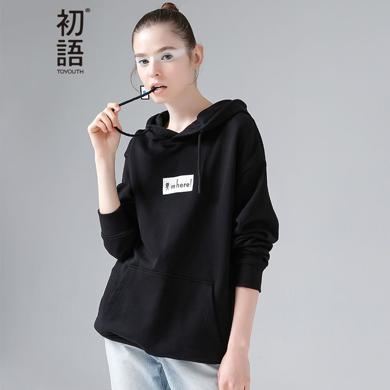 Toyouth Hooded Sweatshirt Autumn Winter Letter Printed Hoodies Women Casual Long Sleeve Pullover Hoodie Loose Tracksuit Female