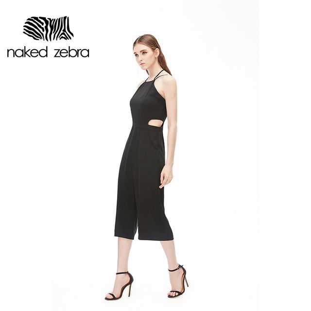 NAKED ZEBRA Woman Chiffon Jumpsuits Black White Halter Slim Waist Sleeveless Clothing Lady Calf-Length Loosed Pants Playsuits