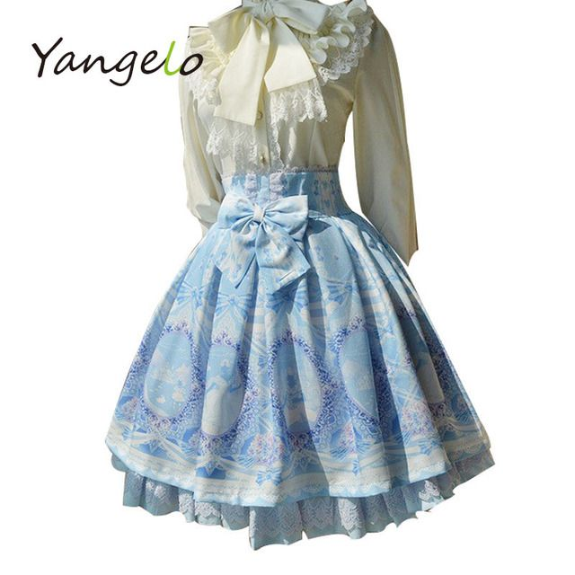 Fairy Tale Story The new Alice printing lolita skirts Harajuku Fabric fight chiffon fabric sk skirt