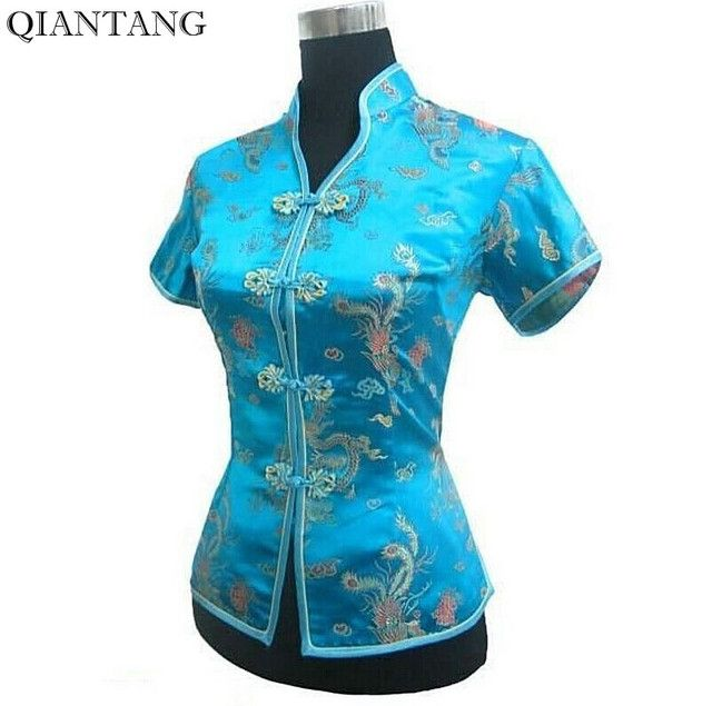 Light Blue V-Neck Shirt Tops Mujer Camisa Female Blouse Traditional Chinese Womens Satin Clothing Size S M L XL XXL XXXL JY044-4
