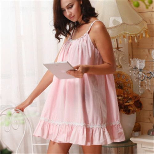 2017 Sleep Lounge Women Sleepwear Cotton Nightgowns Sexy Indoor Clothing Home Dress White Pink Chemise Nightdress