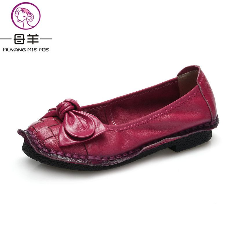 2019 Fashion Handmade Genuine Leather Women Shoes Woman Casual Flat Shoes Comfortable Loafers Female Bow Shoes Women Flats