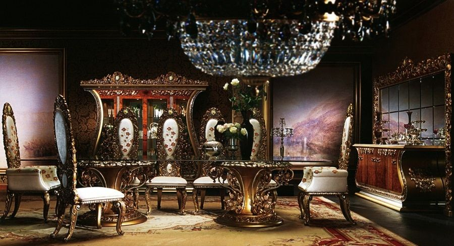 European Style Luxury Imperial Wood Carved Flower Decorative Dining Room Set Top Quality Fabric