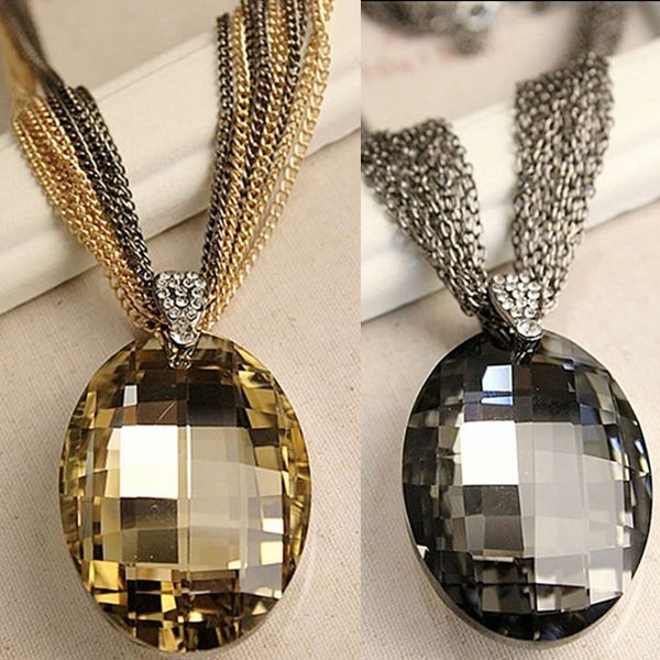 Whosale New Vintage Gold / Black Oval Glass Crystal Pendant Necklace, Charm Multi-Chain Long Chain Necklaces for Women XHP076