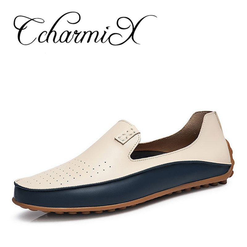 CcharmiX Causal Shoes Men Loafers High Quality Leather Moccasins Men Driving Shoe Flats for Man Plus Size 36-47 Business Flat