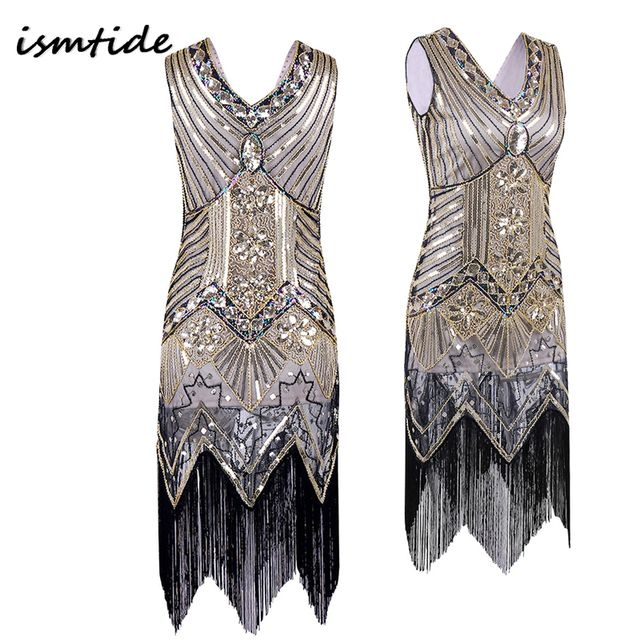 Sequined Dress Great Gatsby Dress Women V Neck Beaded  Dress Sequined Art Deco Flapper 1920s Vintage Party Dresses Sexy Club