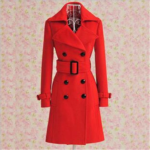 Korea 2016Autumn Winter New Fashion Women Woolen Coat Red Luxury Double-breasted With Belt slim Big yards Medium long Coat G0126