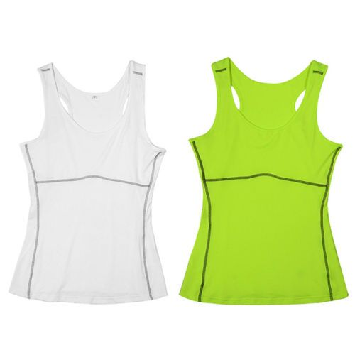 Women Gym Sports Vest Running Top Yoga Girl Stretch Sleeveless Tee Shirt
