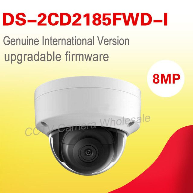 In stock Free shipping English version DS-2CD2185FWD-I 8MP WDR Dome Network cctv ip Camera POE, IP67, IR, IK10, no audio,H.265+