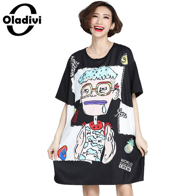 Oladivi 2017 Summer New Casual Loose Long T-shirt Ladies Oversized Short Tops Tees Plus Size Women Clothing Printed Tunic XL 5XL