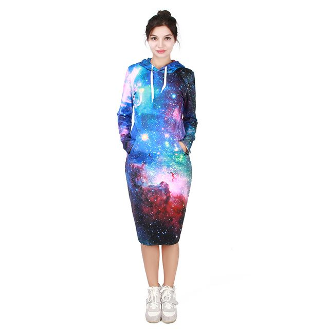 2016 New arrived 3D Printed Galaxy Space Series 7 color Long Hooded Sweatshirts Dress Autumn/Winter Casual Hoodies Sweatshirts