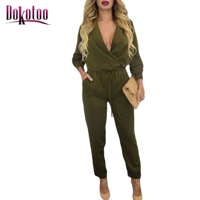 Dokotoo 2017 Sexy Army Green Sleeve Jumper LC60680 overall for women rompers jumpsuit summer playsuit combinaison femme on sale