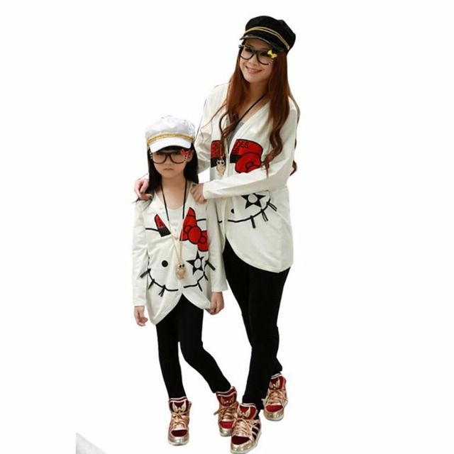 Family Matching Outfits Spring autumn Cat jackets mother Mom and daughter Girl Baby children Coat kids clothing White Black
