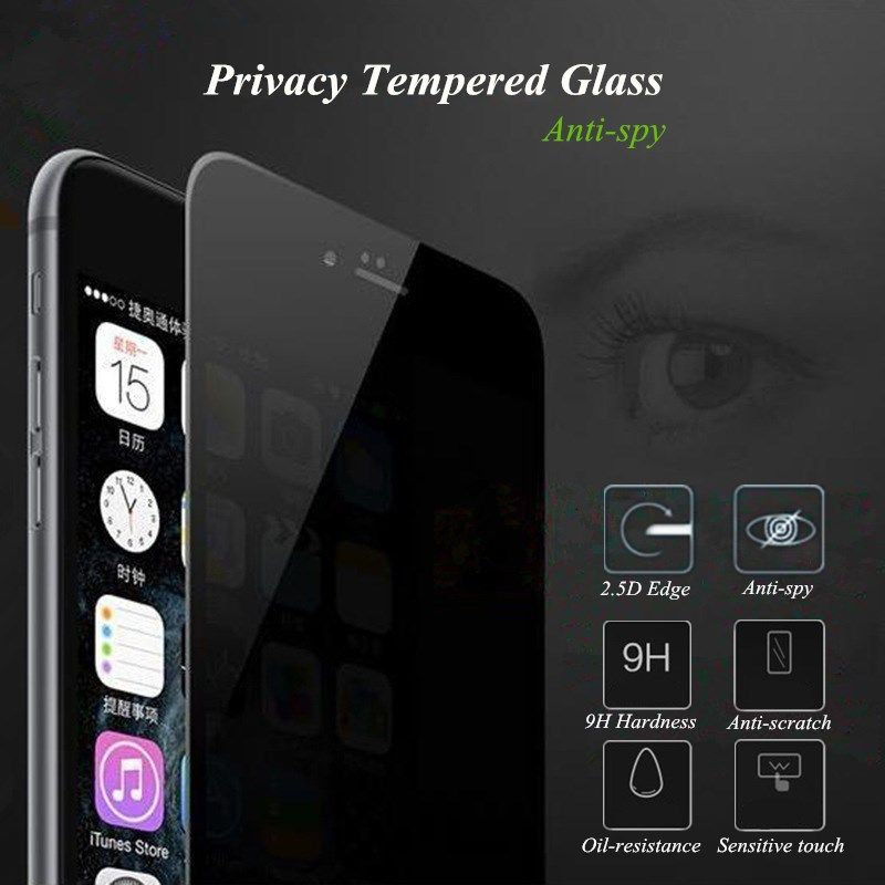 For iPhone 7 6 6S Plus Privacy Tempered Glass Screen Protector 9H 2.5D Full Coverage Protective Film Guard for iPhone6 iPhone7