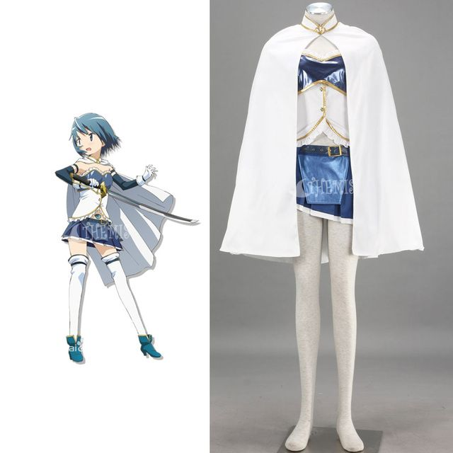 AthemisPuella Magi Madoka Magica Miki Sayaka Cosplay Costume Sheath leather Dres cloak gloves custom made Any size
