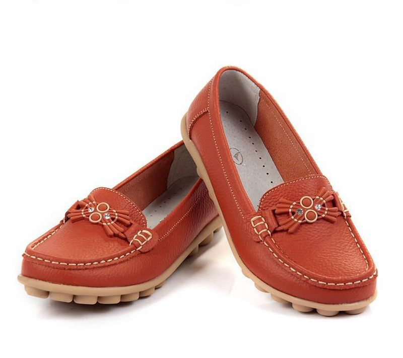 Women Genuine Leather Mother Shoes Moccasins Women's Soft Leisure Flats Female Driving Shoe Flat Loafers