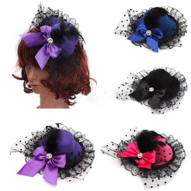 Fashion Ribbon Bow Flower Party Cap Hairpins Festival Hat Hair Clip Hair Accessories  Hair Clip Christmas Costume Girl Gifts
