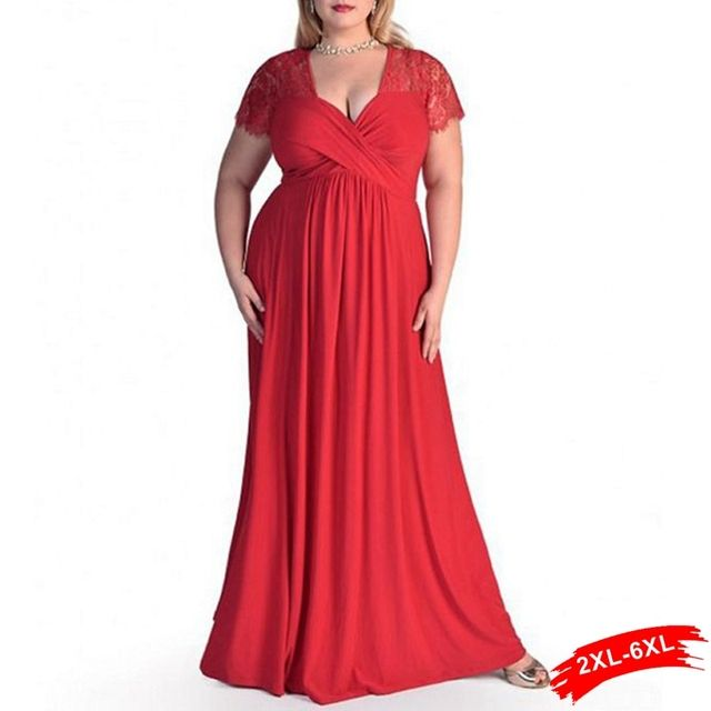 Xxl 4Xl 5Xl 6Xl Plus Size Lace Panelled Sweetheart Neckline Maxi Lace Dress Women Peplum Gown Dress Elegant Evening Party Long