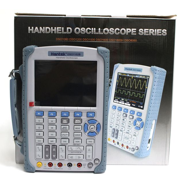 Portable Hantek DSO1102B Digital Oscilloscope USB Host Probe 5.6 TFT Color LCD Multimeter 100 MHz 1GsaS Handheld Oscilloscope