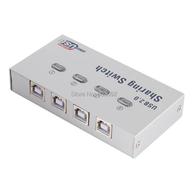 4 Ports USB 2.0 sharing switch 4 in 1 out USB switcher adapter box selector box USB hub for PC scanner printer copier plotter
