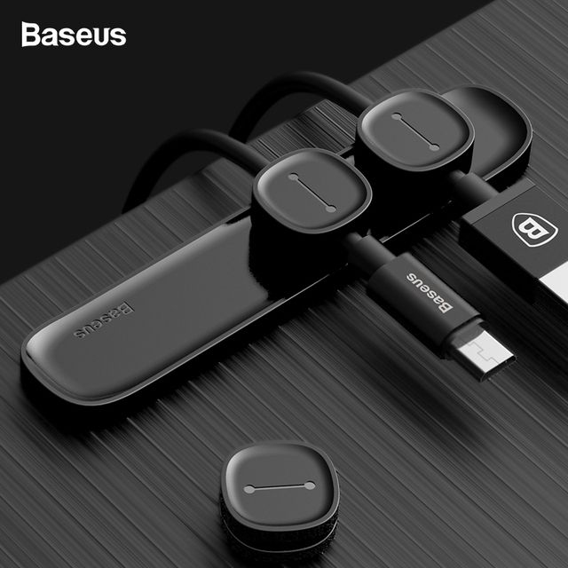 Baseus Magnetic Cable Clip USB Cable Winder Organizer Clamp Desktop Workstation Wire Cord Protector Management Cable Holder