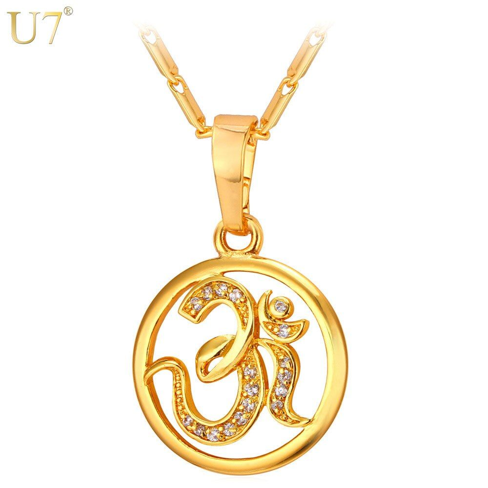 U7 AUM OM Pendant Charm Necklace Zircon India Hinduism Jewelry Fashion Silver/Gold Color Amulet Lucky Gift For Men/Women P922