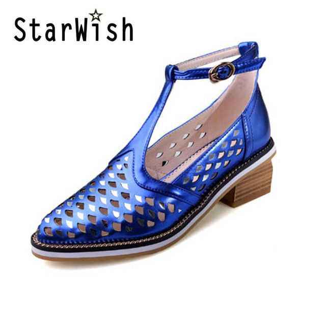 STARWISH New Women T-strap Cut-outs Summer Shoes Elegant Patent High Heels Sandals For Women Ladies Casual Gladiator Sandals