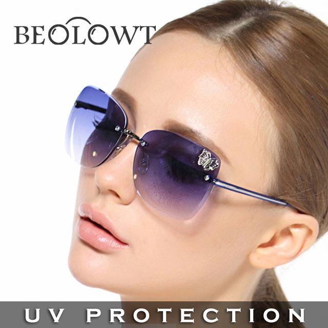 BEOLOWT Brand Fashion women's UV400 protection Sunglasses Alloy Driving Sun Glasses for women with Case Box 4 Colors BL406