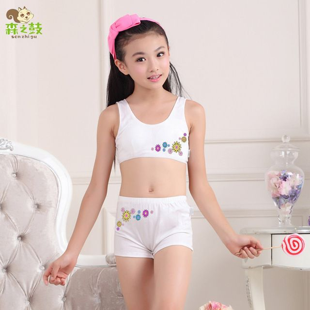Hot sale Girls underwear sets Undies Puberty Teenagers Student Sport Set Girl Cotton Underwear Set Training Bras Vest and Boxers
