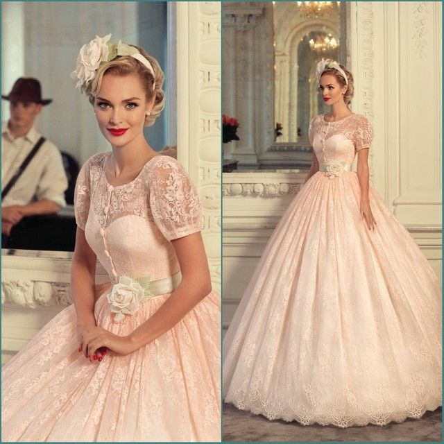Romantic Vestidos 2018 Princess Pink Lace Quinceanera short Sleeve Ball Gown for 15 years Prom Party Mother of the Bride Dresses