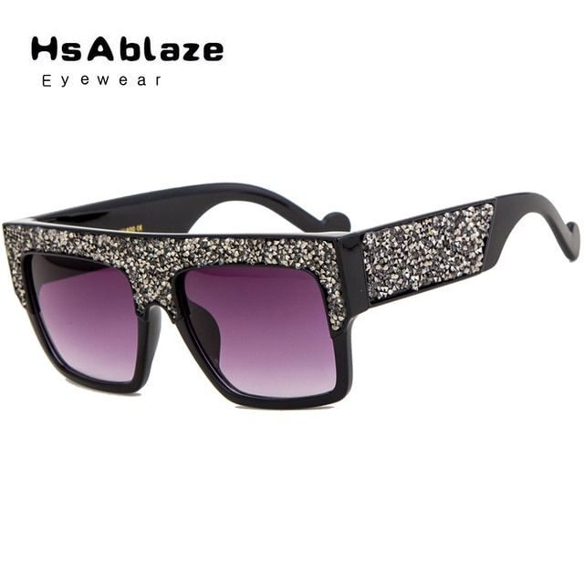 HsAblaze Eyewear Fashion New Arrival Delicate Oversized Women Sunglasses Custom Made Diamond Flat Top Sun Glasses Lunette Female