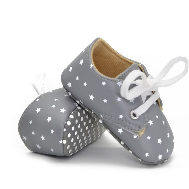 PU Soft Soled Shoes 0-18M Cute Toddler Infant Boy Crib Shoes Lace-Up Sneaker