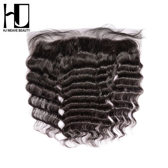 [HJ WEAVE BEAUTY] Lace Frontal Closure Brazilian Nature Wave Remy Hair 13*4 Swiss Lace 100% Human Hair Free Shipping