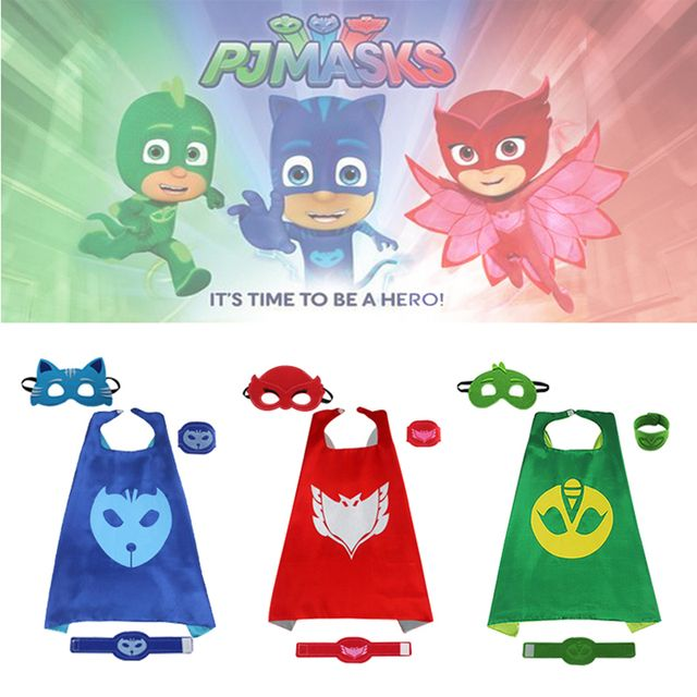 iMucci 2PCS/4PCS 70*70 PJ Cape Set Pajamas Masked Party Christmas Cloak Cosplay Birthday Costume Activity Kids Children Capes