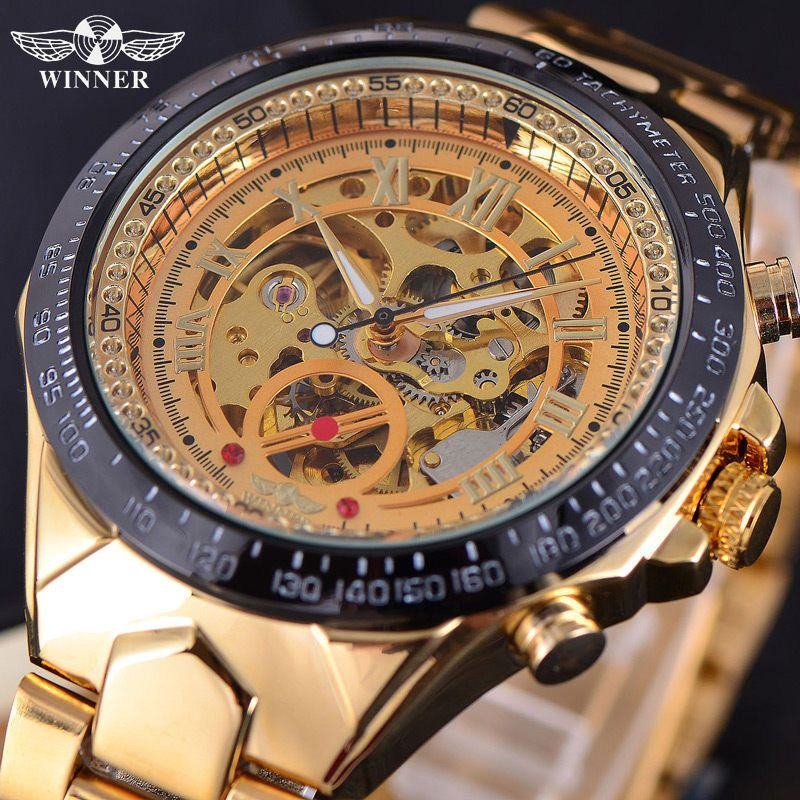 WINNER Automatic Mechanical Watches Top Brand Luxury Mens Wrist Watch Men Military Sport Clock Male Business Skeleton Clocks Hot