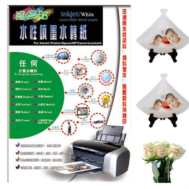 (A4*100pcs) Inkjet Water Slide Decal Paper No Need Varnish  White Background Color A4 Paper For Glass Cup Flower Ceramic