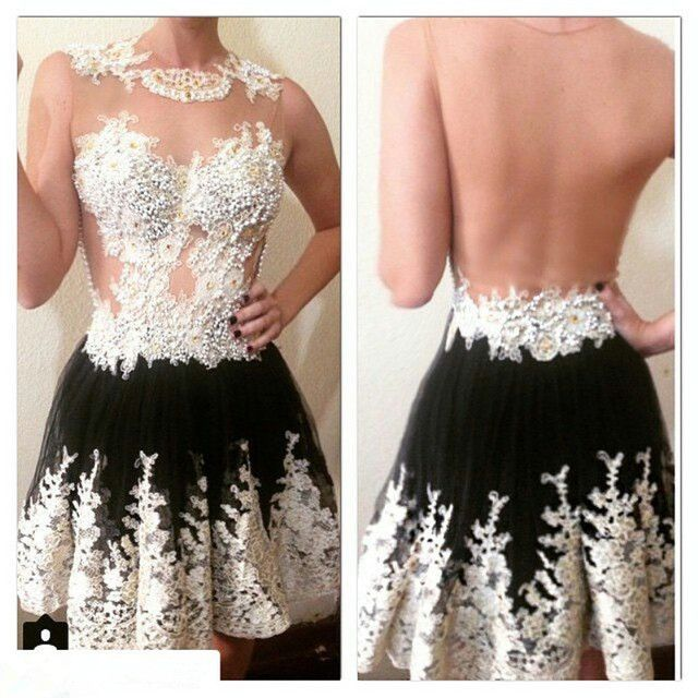 Luxury Beading Lace Bodice See Though Back Short Party Dress Black Tulle A Line Knee Length Cocktail Dress