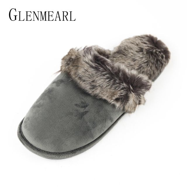 2018 New Winter Women Men Warm Indoor Shoes Slippers Leather Plush Cotton Slippers Lovely Couple Home Shoes Large Size Shoes ZK4