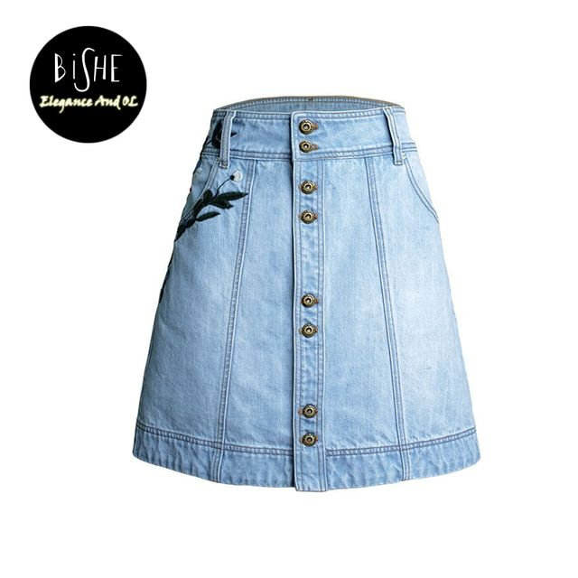 BiSHE Summer Mini Skirts Womens Embroidery Slim Denim Saia Vintage Jeans High Waist Sexy Button Single Breasted A-Line Skirt