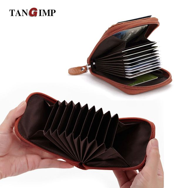 TANGIMP Genuine Leather Card Holder Wallets Female Rfid Credit Card Holder Women Organ Trunk Card holder Coin Purse 2018 Unisex